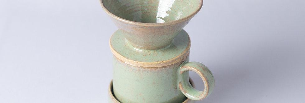 Conjunto Café Verde - Coador, Copo e Base - ATPUTE023