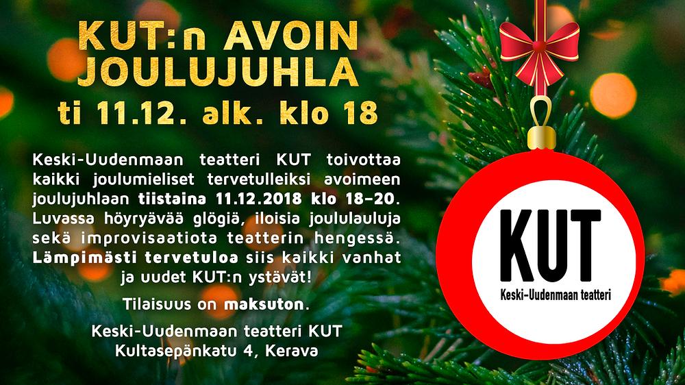 KUT:n avoin joulujuhla tiistaina 11.12. klo 18 alkaen