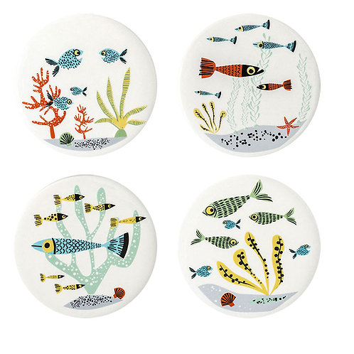 Handmade ceramic Fish coasters (set of 4)