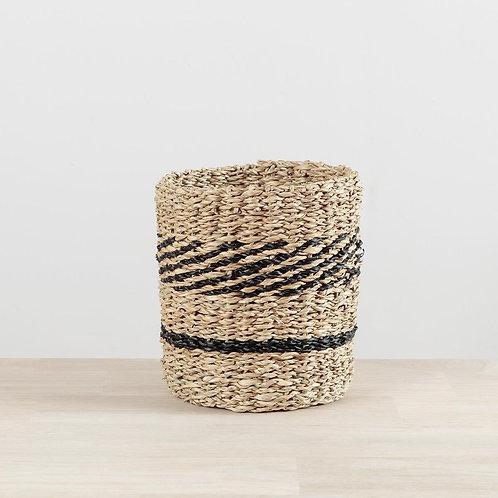 Black Seagrass Stripe Small Basket