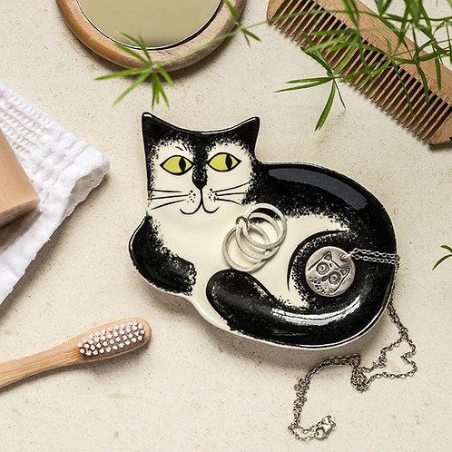 Handmade ceramic b&w Cat trinket dish
