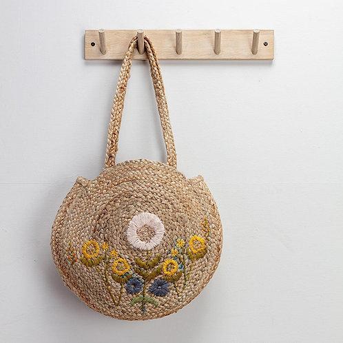 Embroidered Lissa Jute Bag
