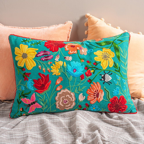 Green Floribunda Embroidered Wildlife Cushion Cover