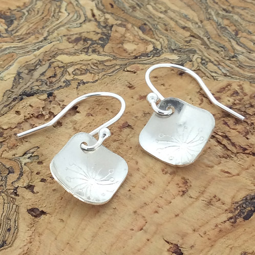 Sterling Silver Square Botanical Drop Earrings