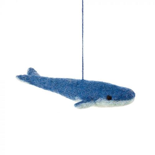 Handmade Needle Felt Big Blue Whale Decoration