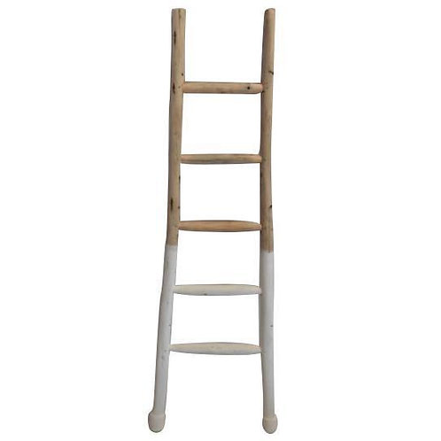 White Dipped Wooden Display Ladder