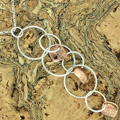 Sterling Silver & Copper Squares Waterfall Necklace