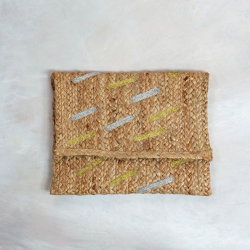 Jute Clutch Bag with Gold & Silver Dashes