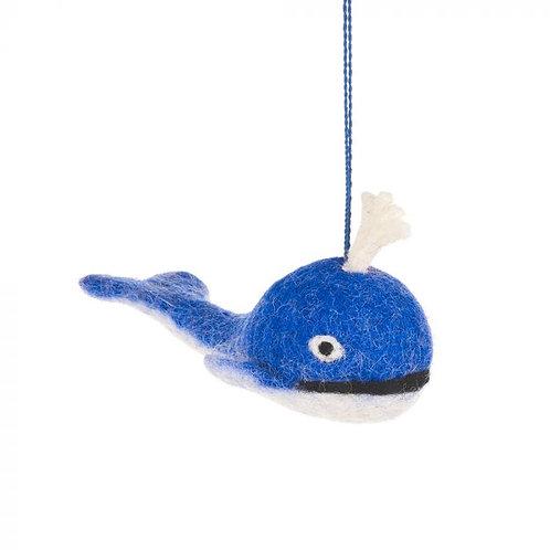 Handmade Needle Felt Spouting Blue Whale