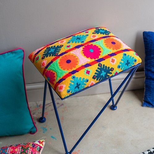 Embroidered colourful Ian Snow stool