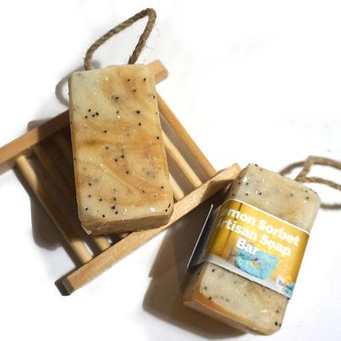 Lemon Sorbet Bar Soap & Rope on a Soap (Vegan)