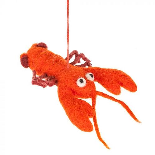 Needle Felted Orange Lobster Hanging Decoration