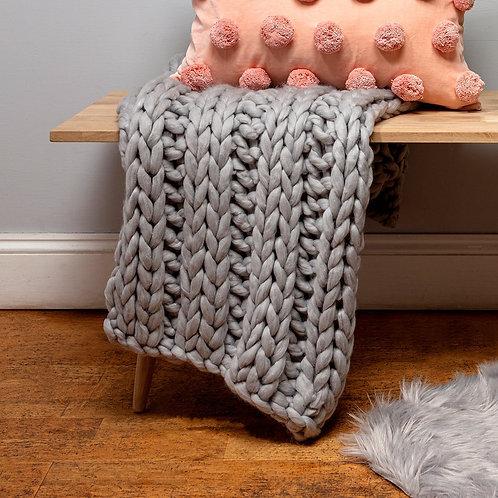 Grey Chunky Knit Throw