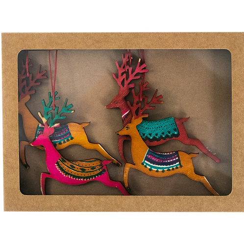 East End Press Reindeer Wooden Decoration Set