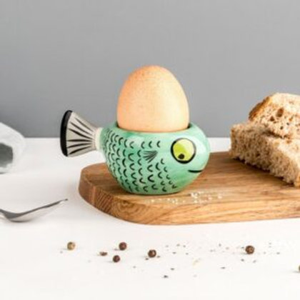 Handmade Ceramic Green Fish Egg cup.