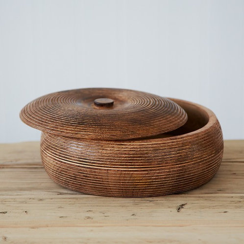 Mango Wood Lidded Bowl