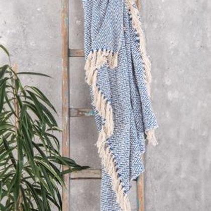 Blue Geometric Cotton Herringbone Throw