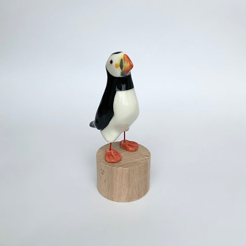Puffin, porcelain collectible bird ornament