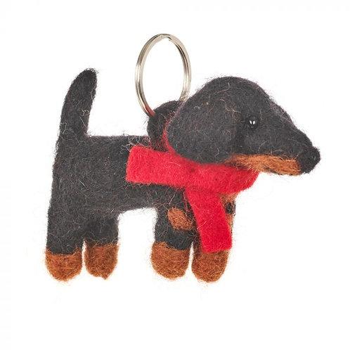 Handmade Needle Felt Dachshund Dog Keyring