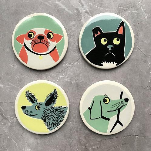 Handmade ceramic Dog coasters (set of 4)