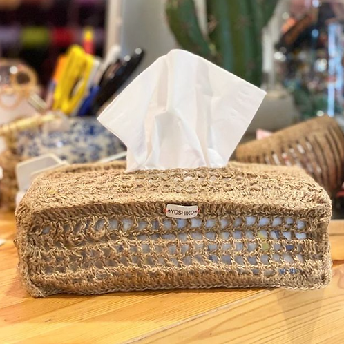 Hand-knotted burlap tissue box cover