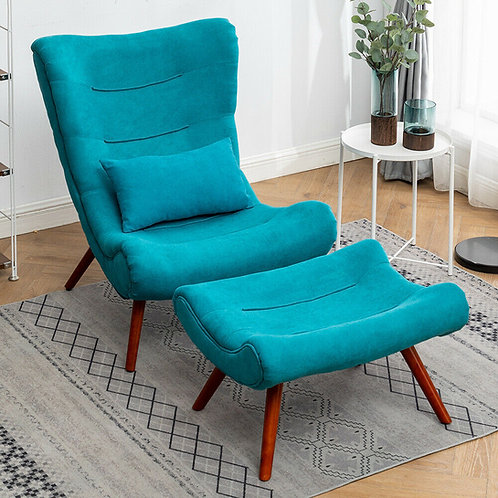 Curved High Backed Fabric Large Armchair Chair with Footstool
