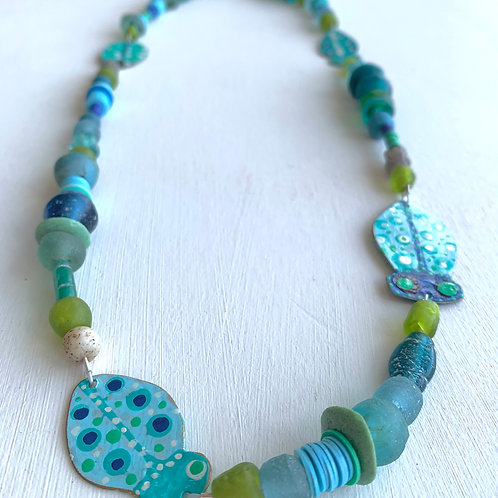 Blue & Green Bead Necklace with Hand Painted Bugs