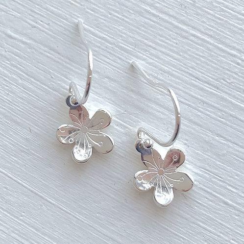 Silver Blossom Drop Earrings