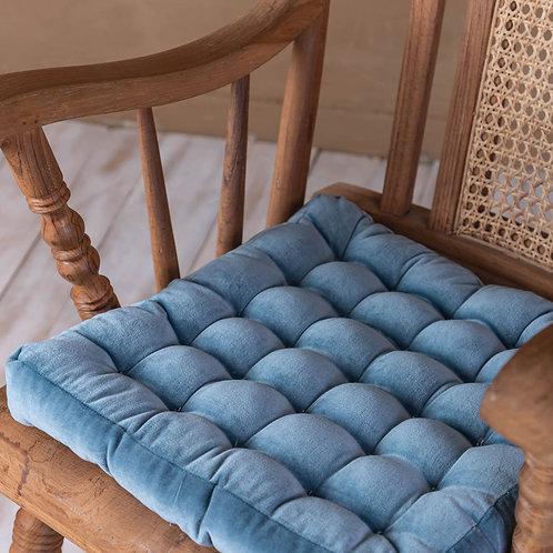 Dusky Blue Velvet Seat Pad.   Click & Collect Only *see description