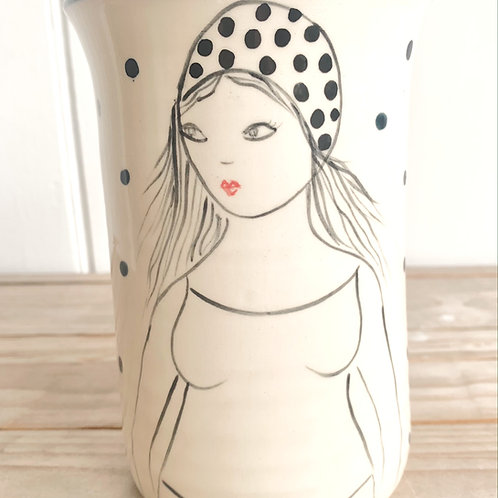 Swimmer Vase (long hair lady) by Lucie Sivicka