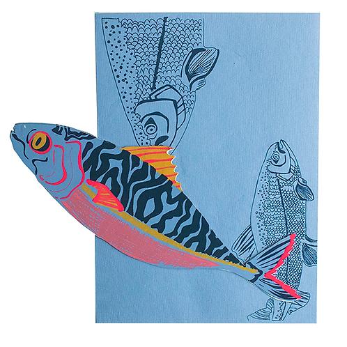 Luxury Hand Printed Mackerel Card