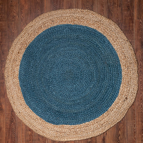 Teal Round Jute Rug.  Click & Collect Only *see description