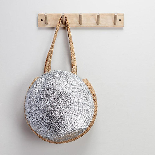 Jute and Silver Shopper Bag