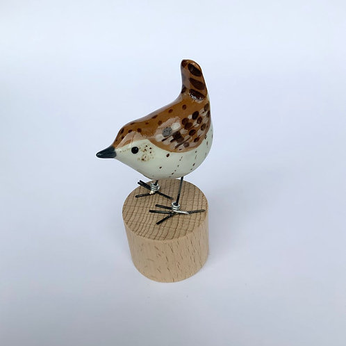 Wren, porcelain garden bird ornament by Julia Crimmen