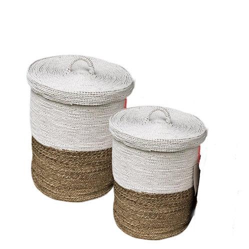 Large Seagrass Lidded  Storage Laundry Basket