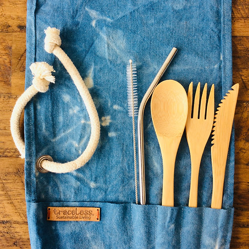 Bamboo Cutlery Wrap in Blue