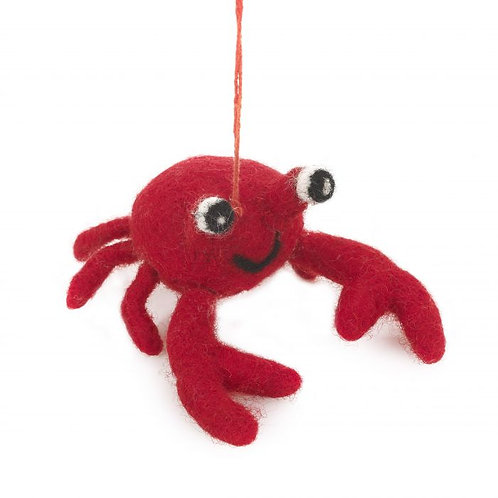 Needle Felted Red Crab Hanging Decoration