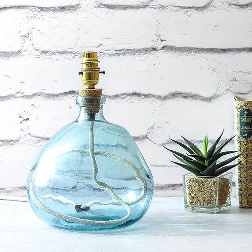 Jarapa Recycled Blown Glass – Light Blue - Organic Shape Lamp Base