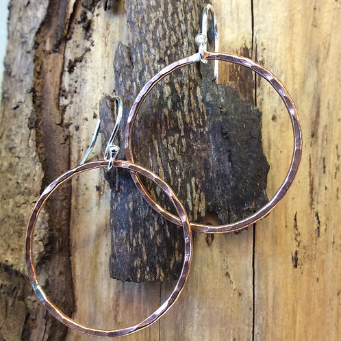 Copper Hammered Hoop Drop Earrings