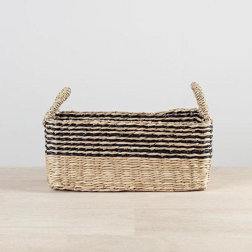 Black Seagrass Stripe Basket