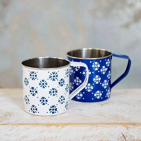 Hygge Stainless Steel Hand Painted Enamel Mug - Scandi Style Cup - Tin Mug - Nor