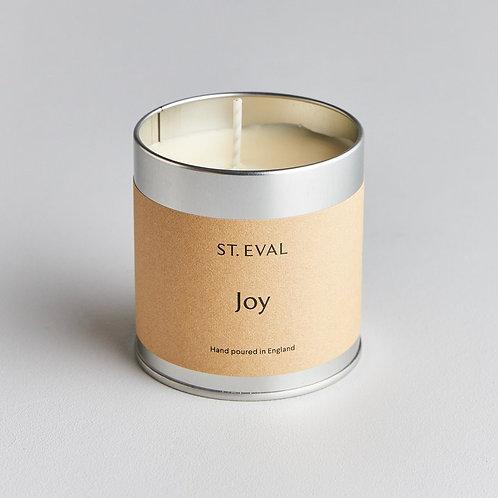 'Joy'.  St Eval Tin Candle
