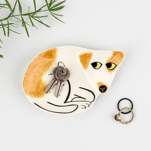 Handmade ceramic tan and white Dog trinket dish