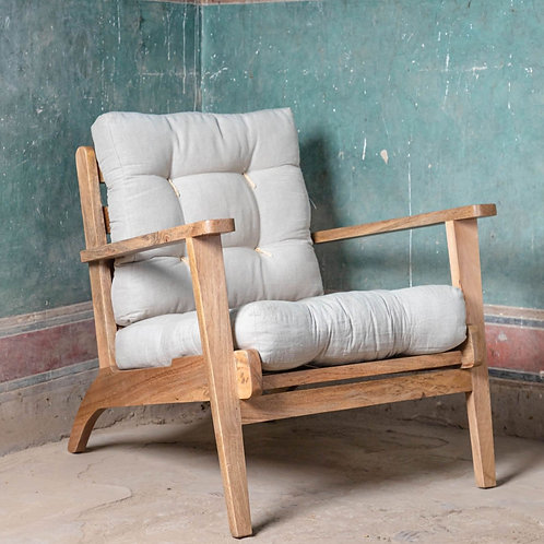 Natural Cotton Linen Cushioned Armchair.  Click & Collect Only *see description
