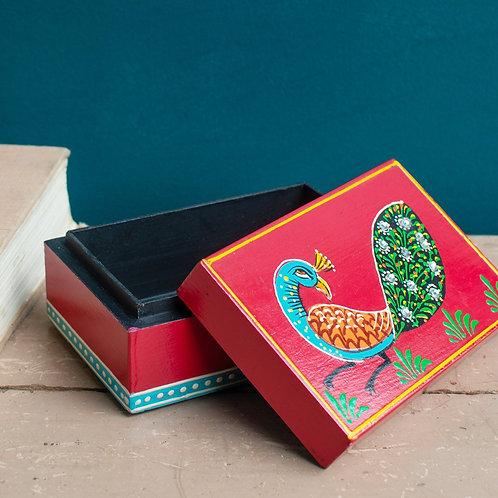Hand Painted Red Peacock Rectangular Box