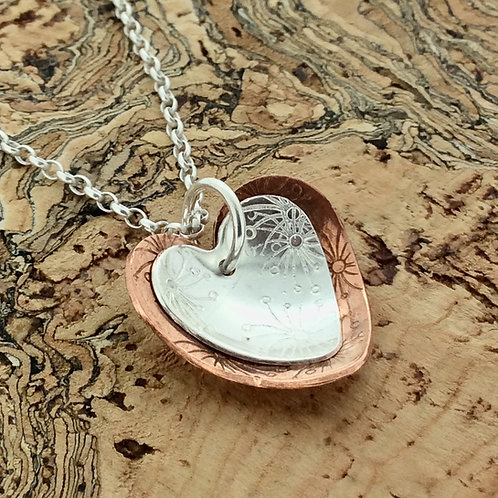 Sterling Silver & Copper double heart pendant on chain - Medium