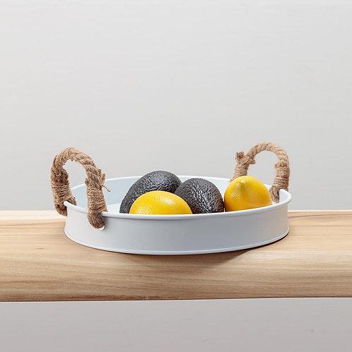 Round white iron serving tray