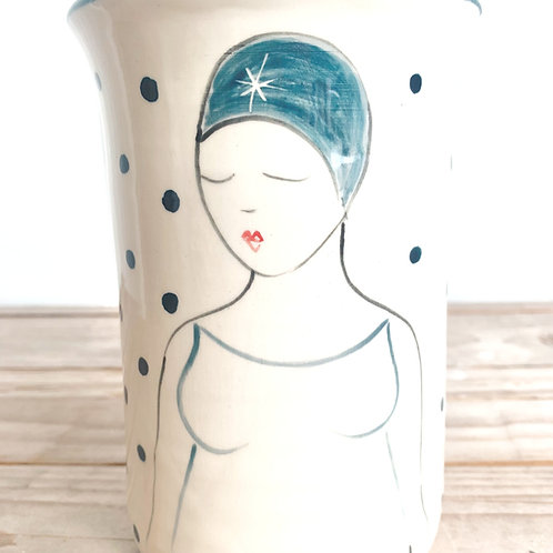 Swimmer Vase (bathing cap lady) by Lucie Sivicka