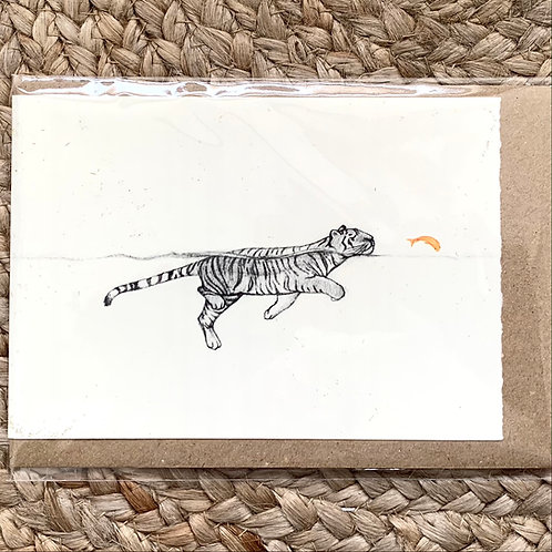 Tiger Swimming - Greetings Card by Esther Connon