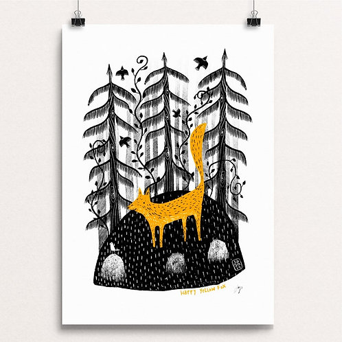 Happy Yellow Fox  A3 Print by Jago Silver